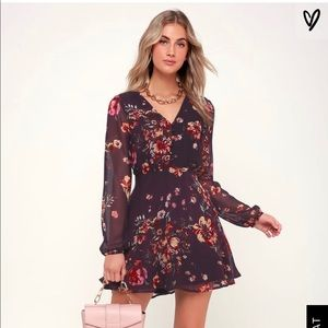 Maroon Floral Flowy Dress